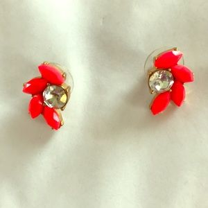 JCrew Hot Pink & Rhinestone Stud Earrings